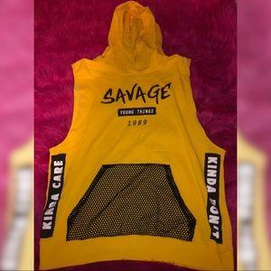 Yellow savage tank hoodie